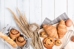 Homemade breads or bun on wood background Royalty Free Stock Photo