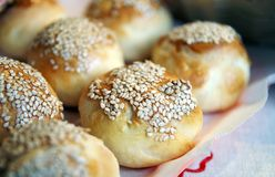 Homemade breads with sesame seeds Stock Images