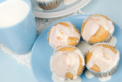 Homemade Breakfast Muffins with A Cup of Milk Royalty Free Stock Photography