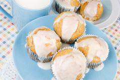 Homemade Breakfast Muffins with a cup of Milk Royalty Free Stock Photo