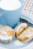 Homemade Breakfast Muffins and Milk Royalty Free Stock Images
