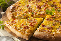 Homemade Breakfast Pizza with Bacon Royalty Free Stock Images