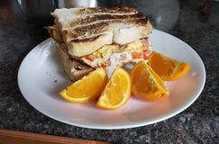 Homemade breakfast sandwich stock images