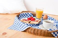 Homemade breakfast on wicker tray Stock Photography