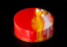 Homemade bright mousse cake with mirror glaze. Selective focus Royalty Free Stock Image