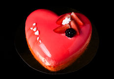 Homemade bright mousse cake with mirror glaze. Selective focus Royalty Free Stock Photos