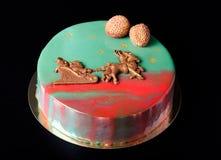 Homemade bright mousse cake with mirror glaze. Selective focus Stock Photos