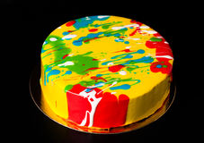 Homemade bright mousse cake with mirror glaze. Selective focus Stock Image