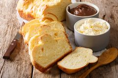 Homemade brioche bread and mascarpone cheese, chocolate cream cl. Ose-up on the table. horizontal Stock Images