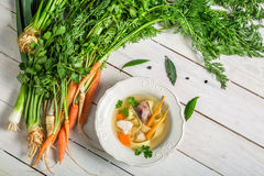 Homemade broth with noodles and ingredients Stock Image