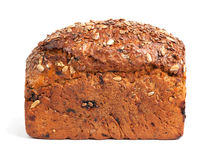 Homemade brown bread. With cereals isolated over white Stock Photos