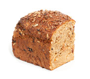 Homemade brown bread. With cereals isolated over white Stock Images