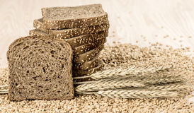 Homemade brown bread with cereals. Bread with cereals  & Wheat.Horizontal shoot Stock Photography