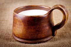 Homemade brown clay cup with milk Royalty Free Stock Photos