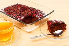 Homemade brownie - chokolate cake with cherry Stock Photo