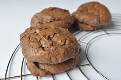Homemade brownie coockie. S - strong and rich chocolate cookies Stock Photos