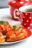 Homemade Bruschetta with tomatoes and pepper royalty free stock image