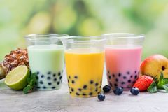 Homemade bubble tea with tapioca pearls stock image
