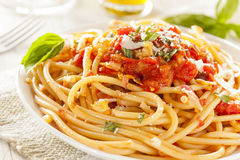 Homemade Bucatini Amatriciana Pasta Royalty Free Stock Photo