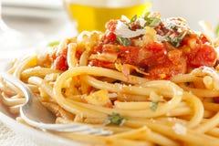 Homemade Bucatini Amatriciana Pasta Stock Photos