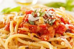 Homemade Bucatini Amatriciana Pasta Stock Photography