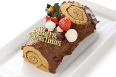 Homemade buche de noel Royalty Free Stock Image