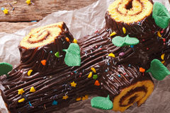 Homemade buche de noel, chocolate yule log christmas cake. Royalty Free Stock Image