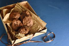 Homemade buckwheat cookies with chocolate stock image