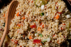 Homemade bulgur with vegetables close up Stock Image