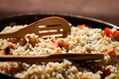 Homemade bulgur with vegetables close up Stock Images