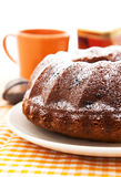 Homemade bundt cake on the plate Royalty Free Stock Images