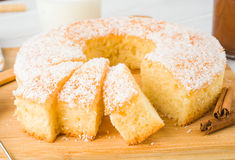 Homemade bundt cake on wooden Royalty Free Stock Photography