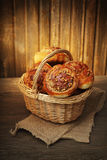 Homemade buns in a basket Royalty Free Stock Images