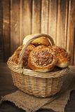 Homemade buns in a basket Stock Photography