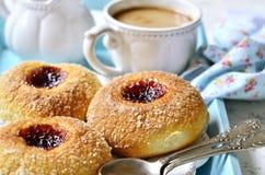 Homemade buns with jam filling. Royalty Free Stock Photos