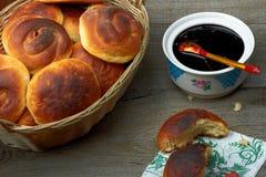 Homemade buns with jam. Lie on table stock photos