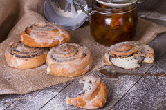 Homemade buns with poppy seed and jam Stock Image
