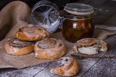 Homemade buns with poppy seed and jam Stock Images