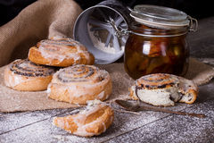 Homemade buns with poppy seed and jam Royalty Free Stock Photo