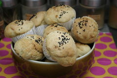 Homemade buns. Some homemade buns of wheat flour with black cumin stock photography