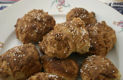 Homemade Buns of wheat flour. Some homemade buns of wheat flour with onions stock photography