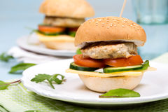 Homemade burger with beef cutlet and vegetables.  royalty free stock photo