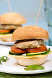 Homemade burger with beef cutlet and vegetables.  royalty free stock images