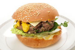 Homemade burger in bun Royalty Free Stock Image