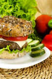 Homemade burger for chrono diet. With selective focus Royalty Free Stock Images