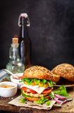 Homemade burger  on a  dark background Royalty Free Stock Photos