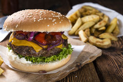 Homemade Burger with French Fries stock photo