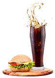 Homemade burger and Fresh cola Stock Image