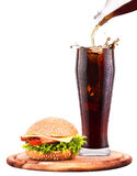 Homemade burger and Fresh cola Royalty Free Stock Image