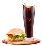 Homemade burger and Fresh cola Royalty Free Stock Images